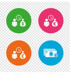 Bank loans icons cash money symbols vector