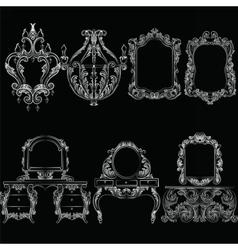 Baroque furniture set vector