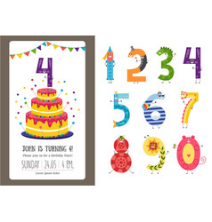 birthday anniversary cartoon numbers and vector image