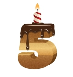 Birthday cake font - number five vector image