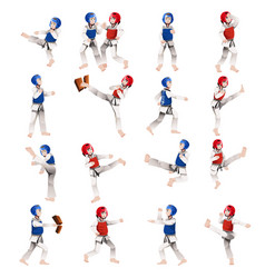 boy and girl in taekwondo outfit vector image