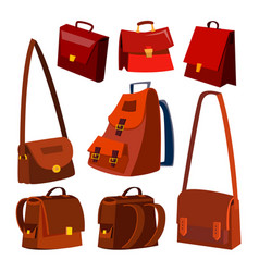 Brown leather bag set briefcase for male vector