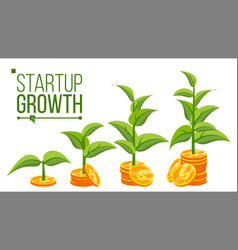 Business growth concept tree growing on vector