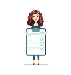 Businesswoman with a clipboard with green tick vector