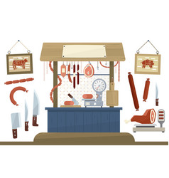 butcher shop meat assortment and equipment for vector image