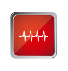 Button with vital sign line with background red vector
