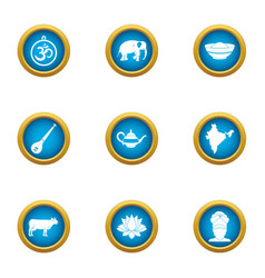 Calm icons set flat style vector
