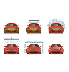 car wash transport automobile water wash service vector image