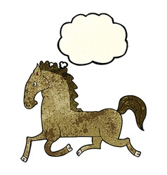 cartoon running horse with thought bubble vector image