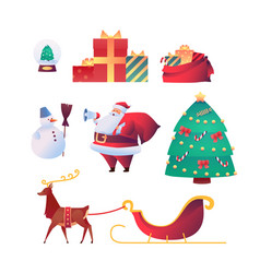 cartoon santa claus reindeer christmas set vector image