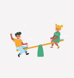 children on seesaw in park vector image