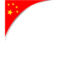 Chinese national flag corner frame vector