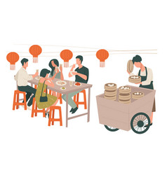 Chinese restaurant interior people eating asian vector