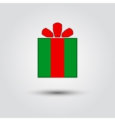 Christmas gift with ribbon icon vector