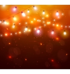 Colourful Glowing Christmas Orange Lights vector