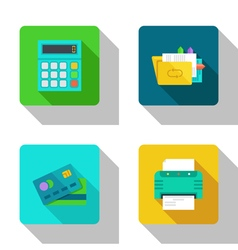 Counting and paper work flat Icons vector image