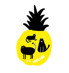 creative print with yellow fruit pineapple and vector image