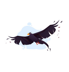 crow with black wings fly in blue sky vector image