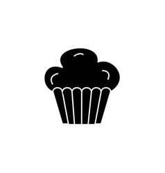 cupcake muffin icon black vector image