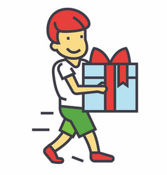 Cute boy holding big gift box concept line vector