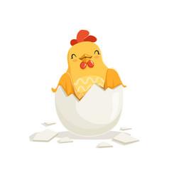 Cute cartoon rooster with broken chicken egg shell vector