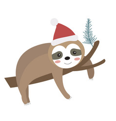 cute christmas sloth icon flat cartoon style vector image