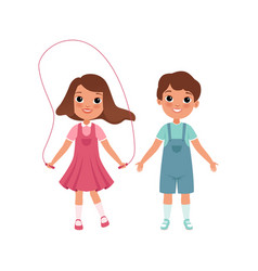 Cute preschooler boy and girl characters students vector