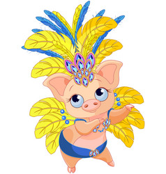Cute samba dancer pig vector
