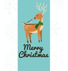 Deer and bird cartoon of Christmas design vector