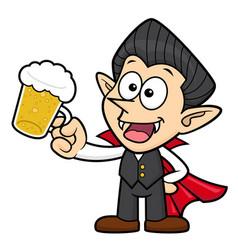Dracula character is drink beer halloween day vector