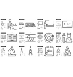 Education line icon set vector image