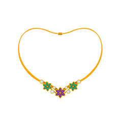 Elegant necklace with flowers made precious vector