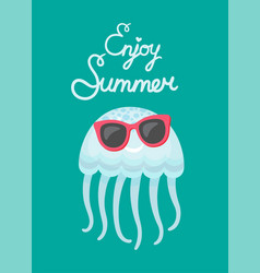 Enjoy summer blue cute jellyfish wearing glasses vector