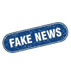 Fake news sign fake news grunge blue stamp label vector