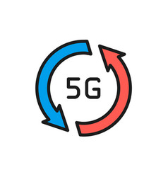 fast 5g internet flat color line icon isolated on vector image