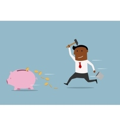 Fast businessman trying to smash a piggy bank vector image