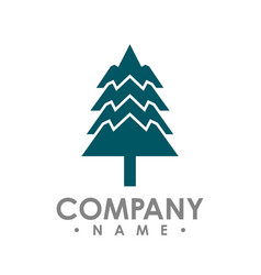 flat design pine trees logo each element vector image