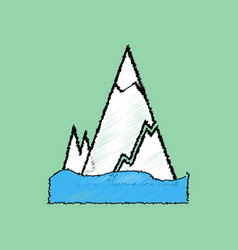 Flat shading style icon iceberg with crack vector