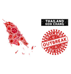 Flu mosaic koh chang map with distress outbreak vector