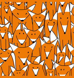 Foxes big family seamless pattern for your design vector