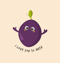 funny cute plum character design vector image