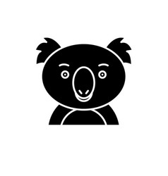 funny koala black icon sign on isolated vector image