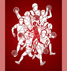 gaelic football sport male and female players mix vector image