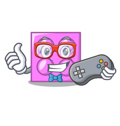 Gamer toy brick mascot cartoon vector