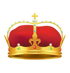 Golden monarchical crown with stones on white vector