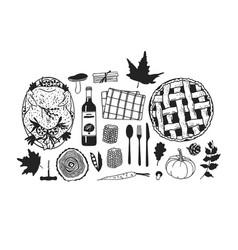 hand drawn autumn holidays creative ink art work vector image