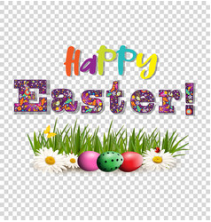 Happy easter greeting card with colored text and vector