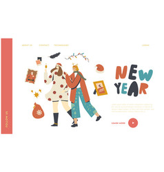 happy girls at christmas and new year corporate vector image
