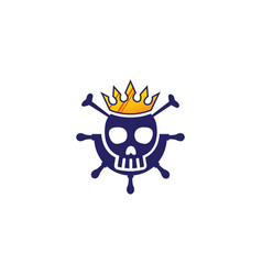 head skull a ship wheel icon with a crown vector image