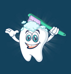 healthy happy tooth concept banner cartoon style vector image